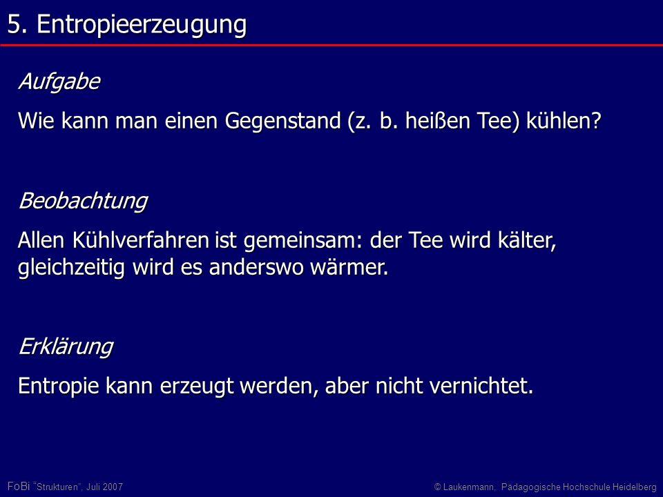 FoBi Strukturen, Juli 2007© Laukenmann, Pädagogische Hochschule Heidelberg Aufgabe Wie kann man einen Gegenstand (z. b. heißen Tee) kühlen? Beobachtun