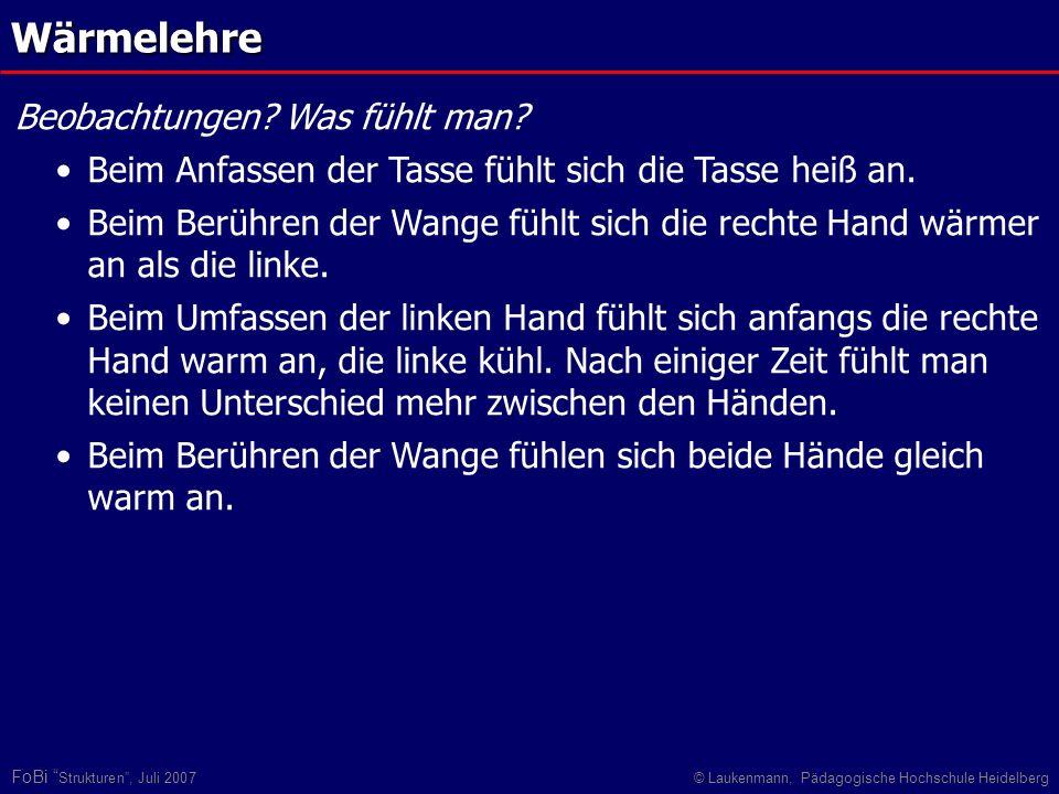 FoBi Strukturen, Juli 2007© Laukenmann, Pädagogische Hochschule Heidelberg Wärmelehre Beobachtungen? Was fühlt man? Beim Anfassen der Tasse fühlt sich