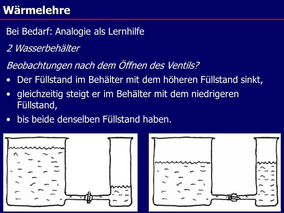 FoBi Strukturen, Juli 2007© Laukenmann, Pädagogische Hochschule HeidelbergWärmelehre Bei Bedarf: Analogie als Lernhilfe 2 Wasserbehälter Beobachtungen