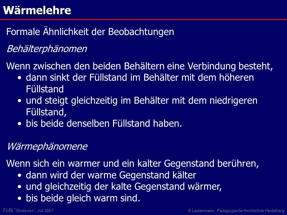 FoBi Strukturen, Juli 2007© Laukenmann, Pädagogische Hochschule HeidelbergWärmelehre Formale Ähnlichkeit der Beobachtungen Behälterphänomen Wenn zwisc