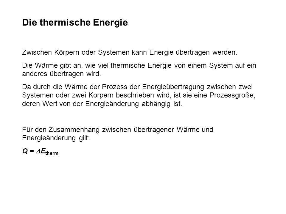 Die thermische Energie Zwischen Körpern oder Systemen kann Energie übertragen werden.