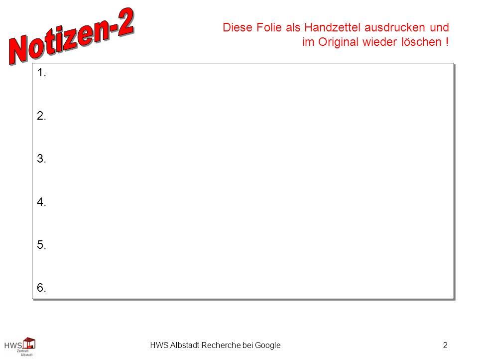 HWS Albstadt Recherche bei Google2 1. 2. 3. 4. 5.