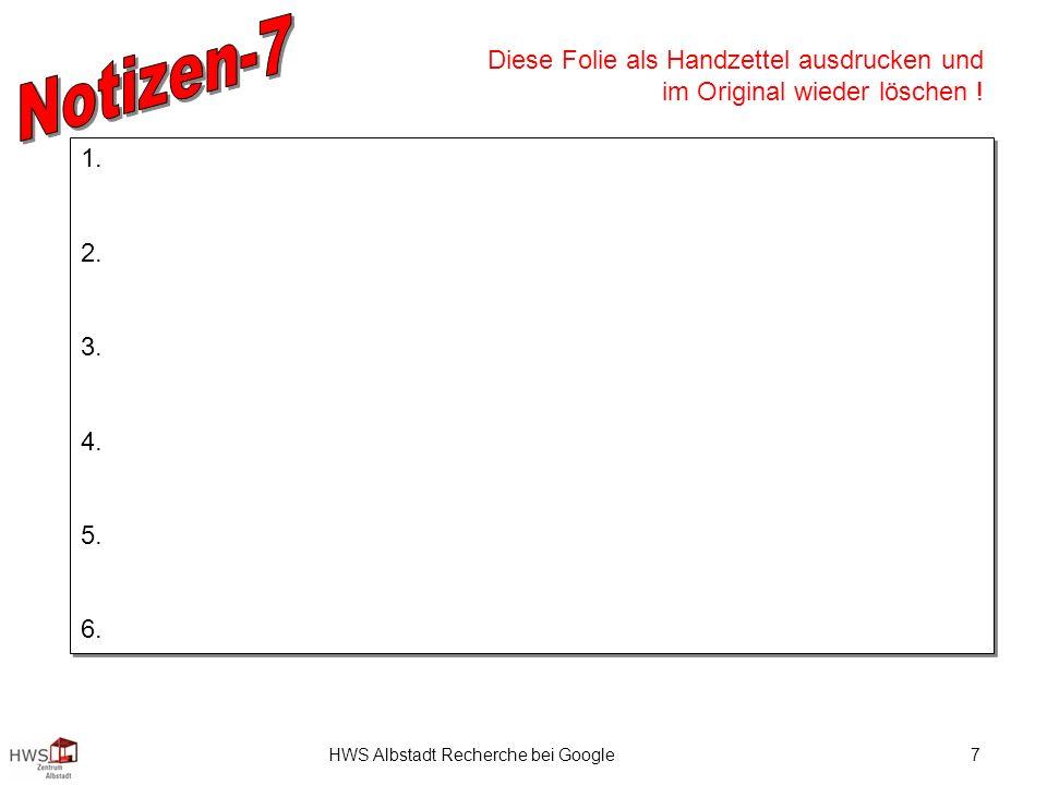 HWS Albstadt Recherche bei Google7 1. 2. 3. 4. 5.