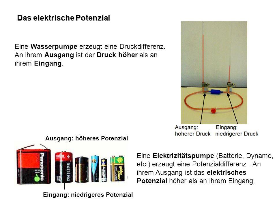 Das elektrische Potenzial Eine Wasserpumpe erzeugt eine Druckdifferenz. An ihrem Ausgang ist der Druck höher als an ihrem Eingang. Eine Elektrizitätsp