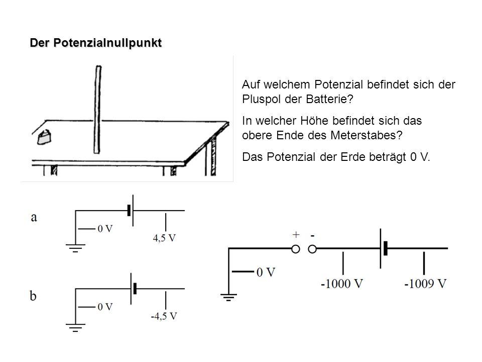 Der Potenzialnullpunkt Auf welchem Potenzial befindet sich der Pluspol der Batterie? In welcher Höhe befindet sich das obere Ende des Meterstabes? Das