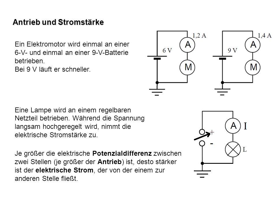 Ein Elektromotor wird einmal an einer 6-V- und einmal an einer 9-V-Batterie betrieben. Bei 9 V läuft er schneller. Eine Lampe wird an einem regelbaren