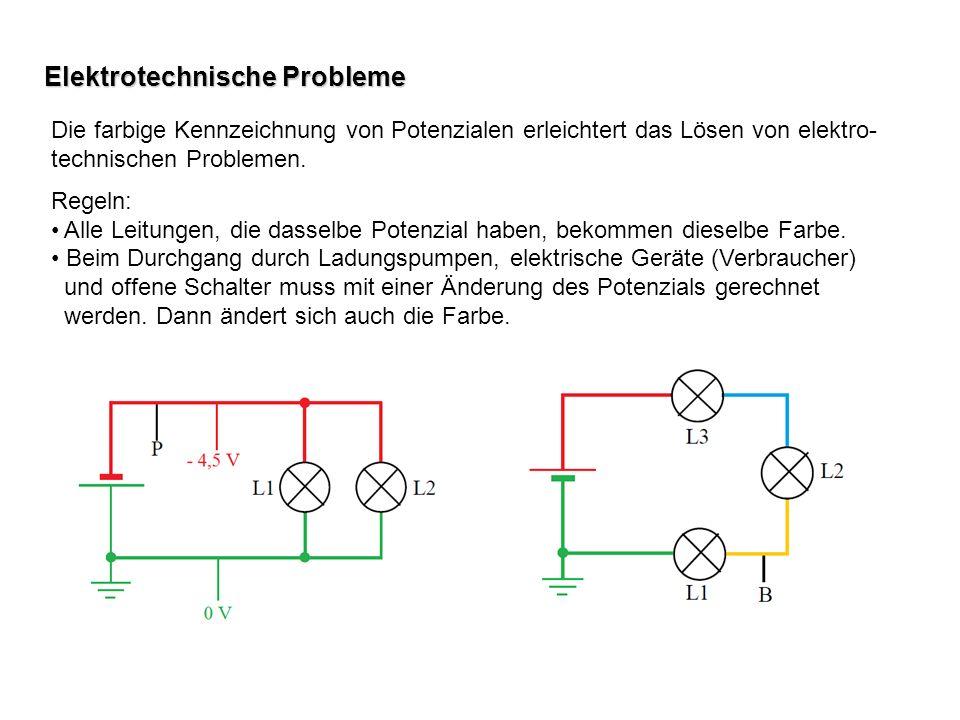 Elektrotechnische Probleme Die farbige Kennzeichnung von Potenzialen erleichtert das Lösen von elektro- technischen Problemen. Regeln: Alle Leitungen,