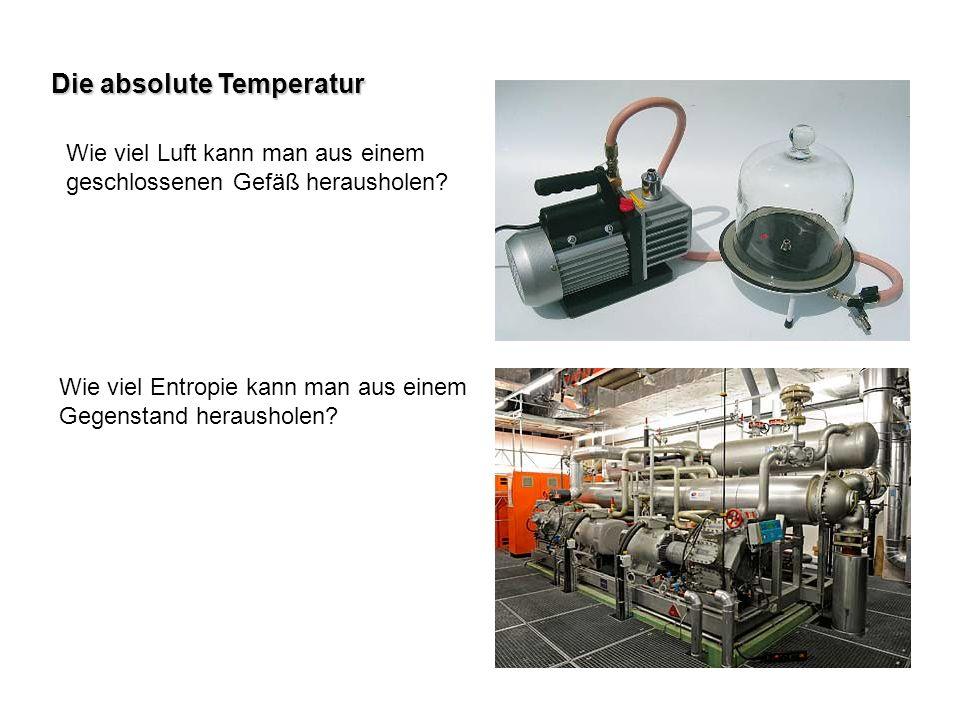 Die absolute Temperatur Wie viel Luft kann man aus einem geschlossenen Gefäß herausholen? Wie viel Entropie kann man aus einem Gegenstand herausholen?
