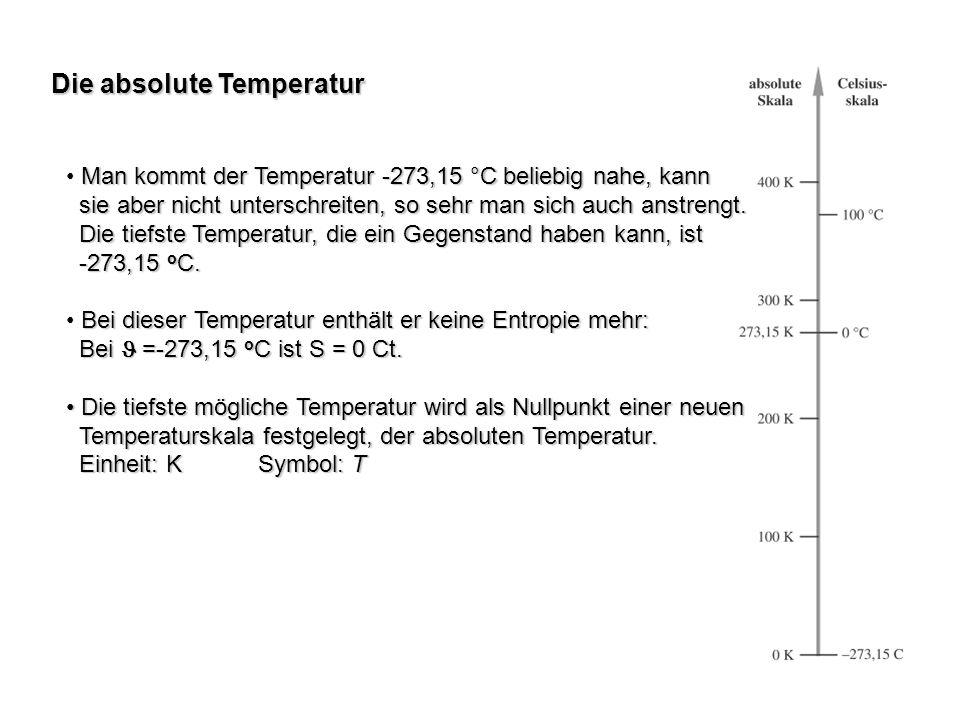Die absolute Temperatur Man kommt der Temperatur -273,15 °C beliebig nahe, kann sie aber nicht unterschreiten, so sehr man sich auch anstrengt. sie ab
