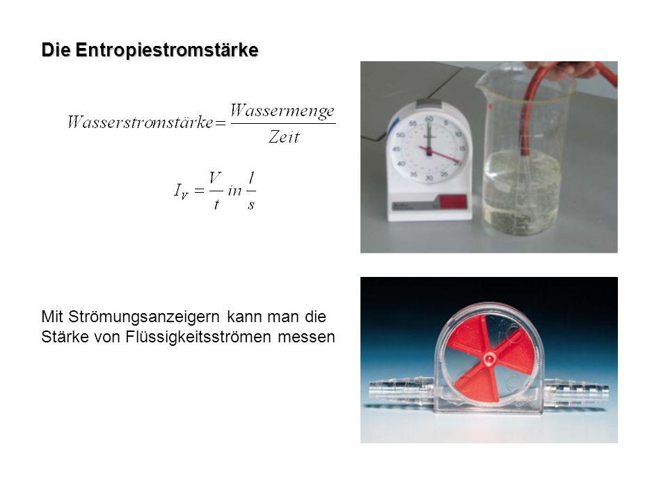 Die Entropiestromstärke Mit Strömungsanzeigern kann man die Stärke von Flüssigkeitsströmen messen