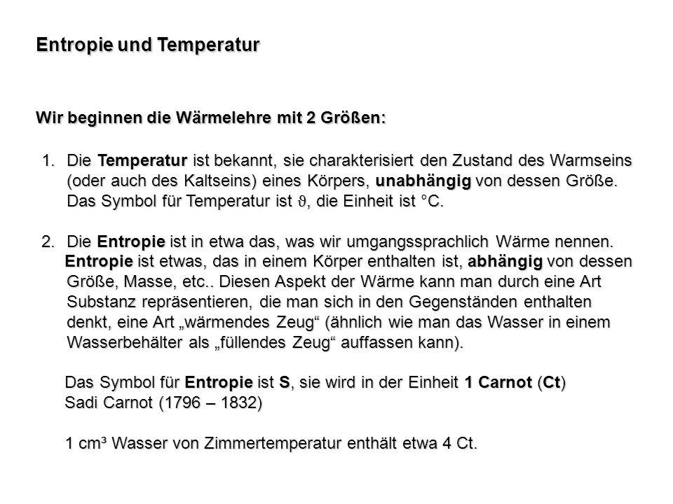 Entropie und Temperatur Wir beginnen die Wärmelehre mit 2 Größen: 1.Die Temperatur ist bekannt, sie charakterisiert den Zustand des Warmseins (oder au