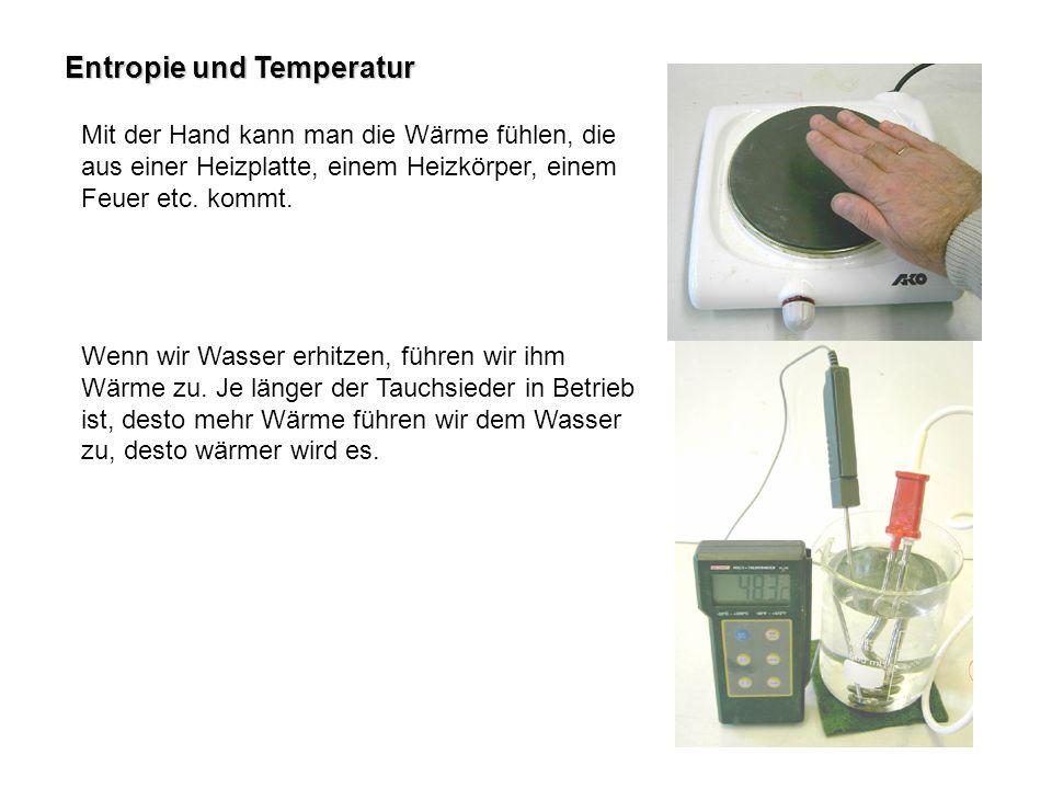 Entropie und Temperatur Mit der Hand kann man die Wärme fühlen, die aus einer Heizplatte, einem Heizkörper, einem Feuer etc. kommt. Wenn wir Wasser er