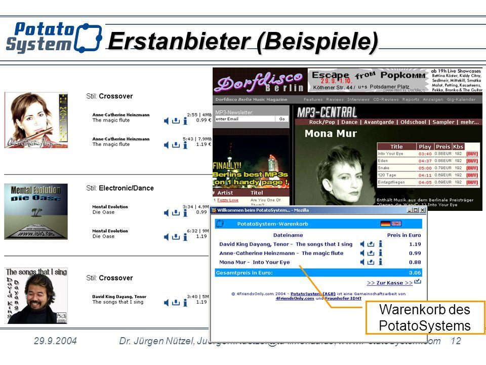 29.9.2004Dr. Jürgen Nützel, Juergen.Nuetzel@tu-ilmenau.de, www.PotatoSystem.com 12 Erstanbieter (Beispiele) Warenkorb des PotatoSystems