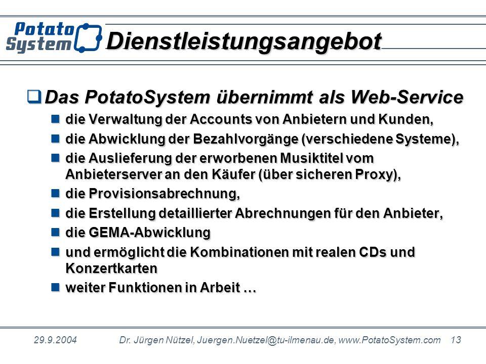 29.9.2004Dr. Jürgen Nützel, Juergen.Nuetzel@tu-ilmenau.de, www.PotatoSystem.com 13 DienstleistungsangebotDienstleistungsangebot Das PotatoSystem übern