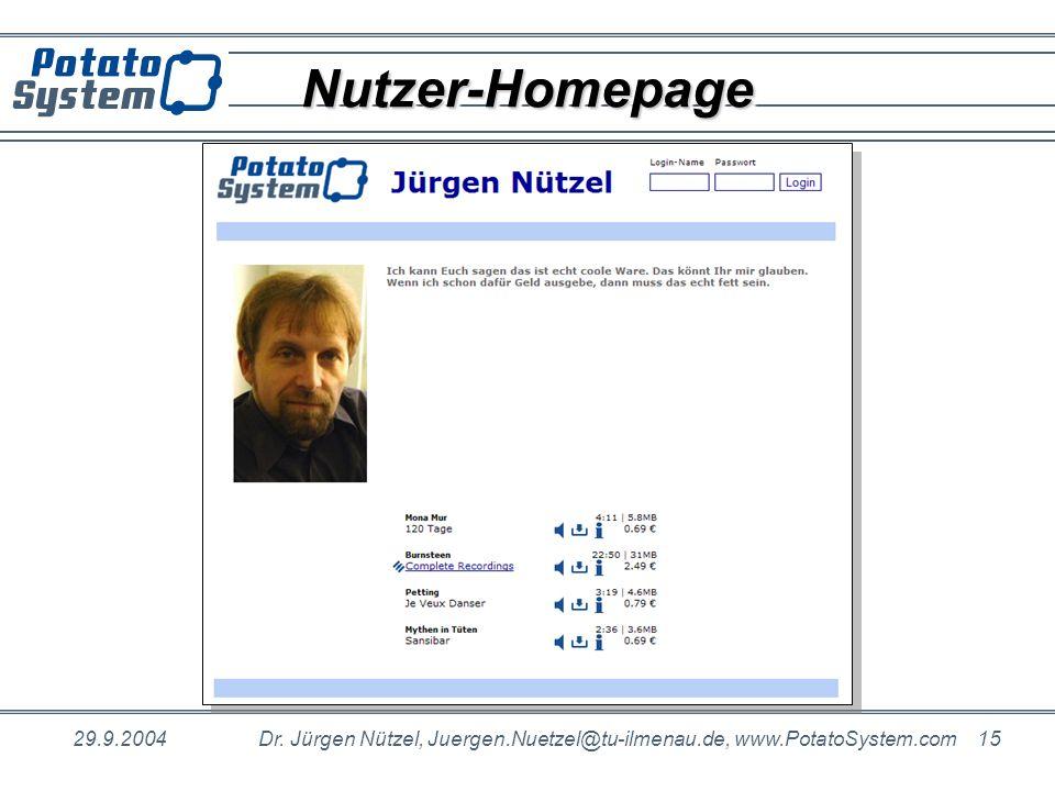 29.9.2004Dr. Jürgen Nützel, Juergen.Nuetzel@tu-ilmenau.de, www.PotatoSystem.com 15 Nutzer-HomepageNutzer-Homepage