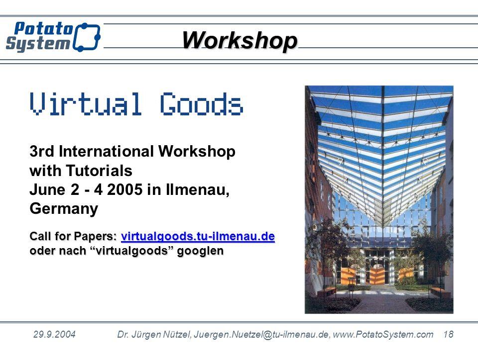 29.9.2004Dr. Jürgen Nützel, Juergen.Nuetzel@tu-ilmenau.de, www.PotatoSystem.com 18 WorkshopWorkshop 3rd International Workshop with Tutorials June 2 -
