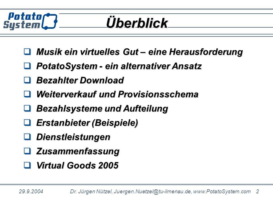 29.9.2004Dr. Jürgen Nützel, Juergen.Nuetzel@tu-ilmenau.de, www.PotatoSystem.com 2 ÜberblickÜberblick Musik ein virtuelles Gut – eine Herausforderung M