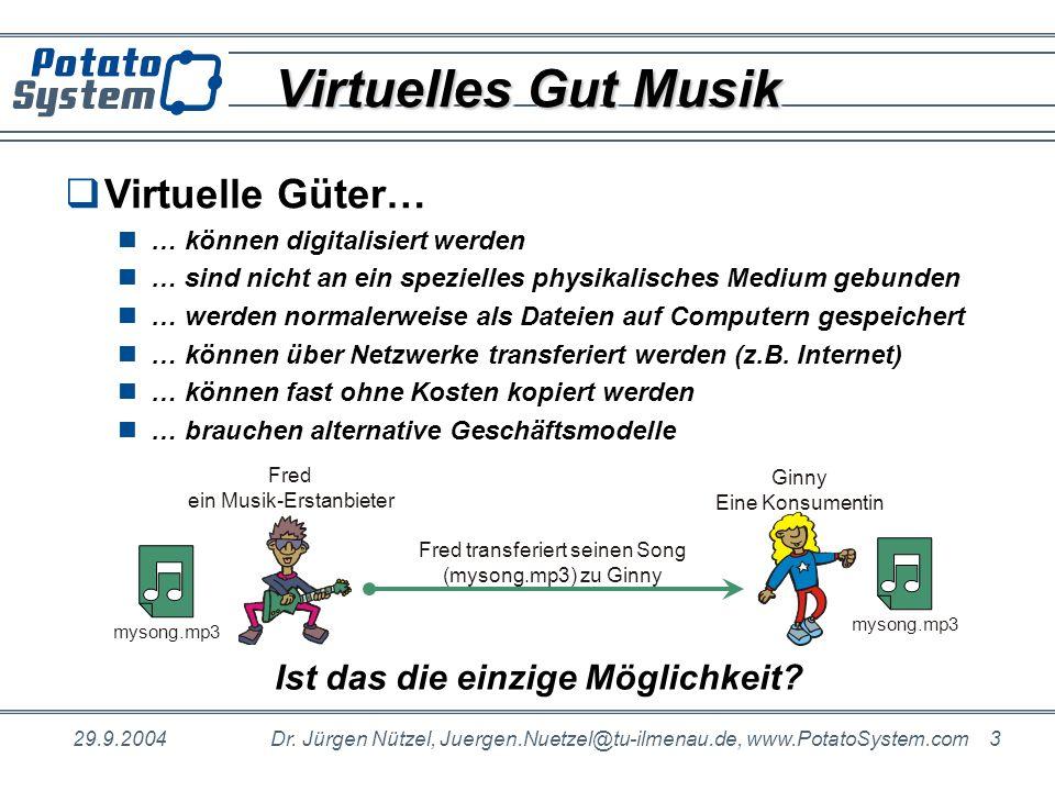 29.9.2004Dr. Jürgen Nützel, Juergen.Nuetzel@tu-ilmenau.de, www.PotatoSystem.com 3 Virtuelles Gut Musik Fred transferiert seinen Song (mysong.mp3) zu G