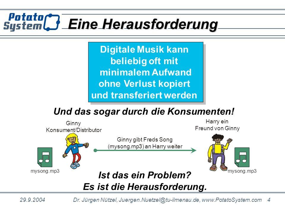 29.9.2004Dr. Jürgen Nützel, Juergen.Nuetzel@tu-ilmenau.de, www.PotatoSystem.com 4 Eine Herausforderung Digitale Musik kann beliebig oft mit minimalem