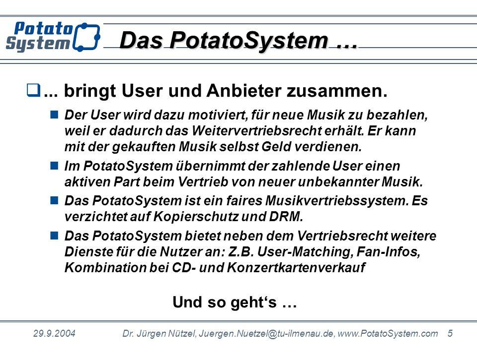 29.9.2004Dr. Jürgen Nützel, Juergen.Nuetzel@tu-ilmenau.de, www.PotatoSystem.com 5 Das PotatoSystem …... bringt User und Anbieter zusammen. Der User wi