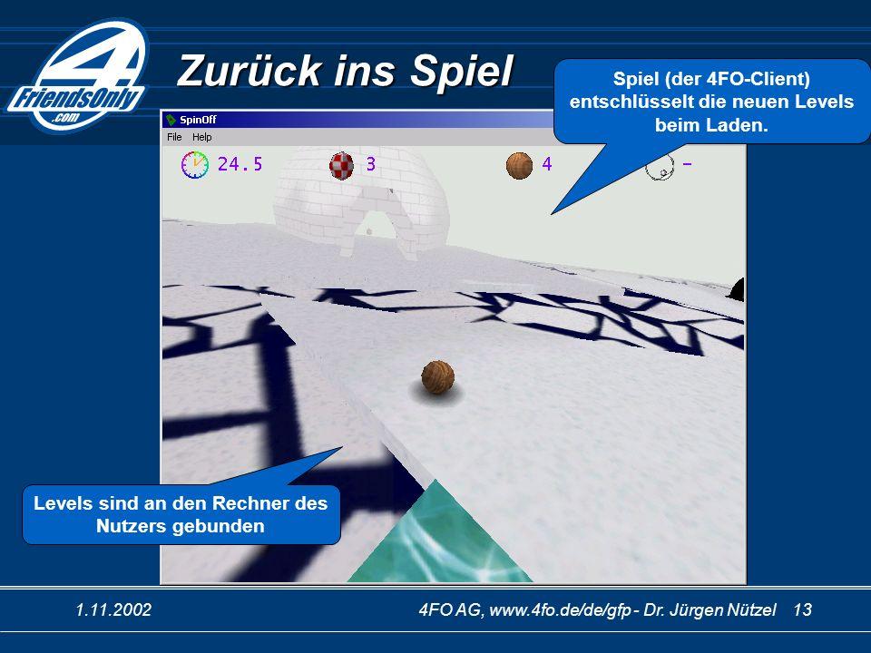 1.11.20024FO AG, www.4fo.de/de/gfp - Dr. Jürgen Nützel 13 Zurück ins Spiel Spiel (der 4FO-Client) entschlüsselt die neuen Levels beim Laden. Levels si