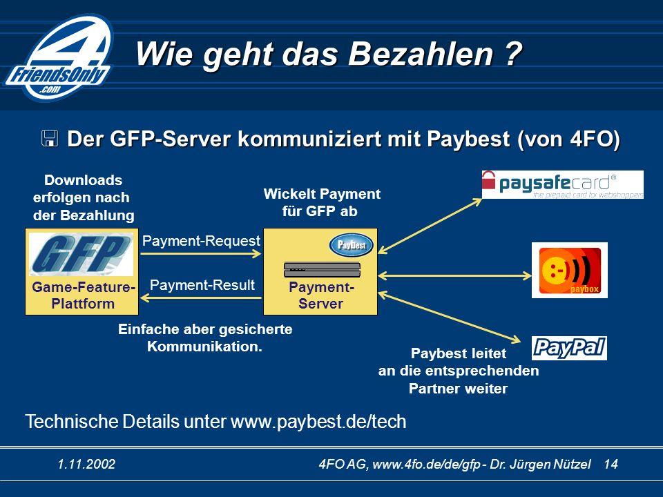 1.11.20024FO AG, www.4fo.de/de/gfp - Dr. Jürgen Nützel 14 Wie geht das Bezahlen ? Downloads erfolgen nach der Bezahlung Payment- Server Wickelt Paymen