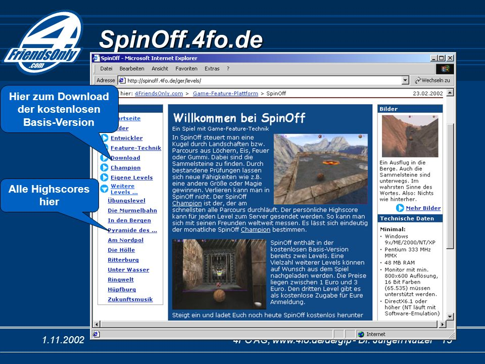 1.11.20024FO AG, www.4fo.de/de/gfp - Dr. Jürgen Nützel 15 SpinOff.4fo.de Hier zum Download der kostenlosen Basis-Version Alle Highscores hier