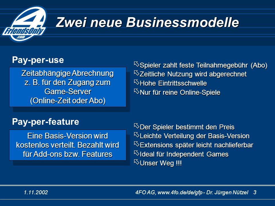 1.11.20024FO AG, www.4fo.de/de/gfp - Dr. Jürgen Nützel 3 Zwei neue Businessmodelle Eine Basis-Version wird kostenlos verteilt. Bezahlt wird für Add-on