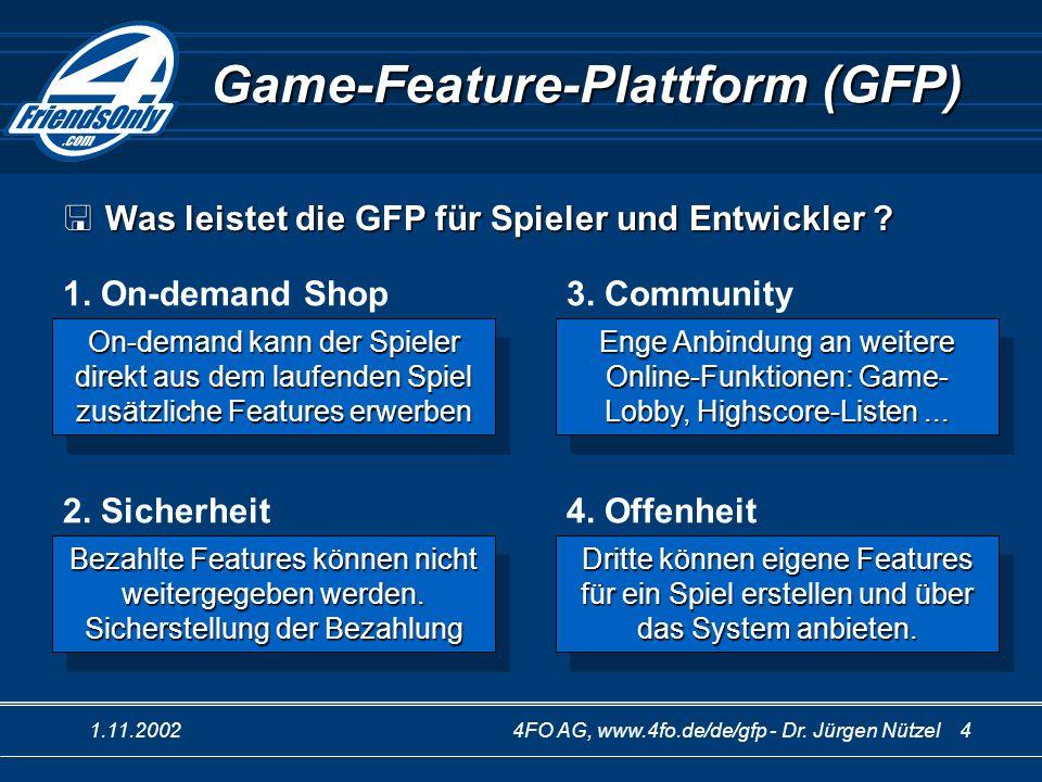 1.11.20024FO AG, www.4fo.de/de/gfp - Dr. Jürgen Nützel 4 Game-Feature-Plattform (GFP) 1. On-demand Shop Was leistet die GFP für Spieler und Entwickler