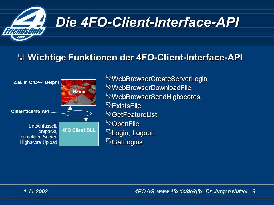 1.11.20024FO AG, www.4fo.de/de/gfp - Dr. Jürgen Nützel 9 Die 4FO-Client-Interface-API 4FO Client DLL Game Z.B. in C/C++, Delphi Entschlüsselt, entpack