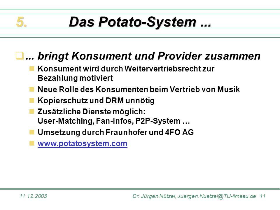 11.12.2003Dr. Jürgen Nützel, Juergen.Nuetzel@TU-ilmeau.de 11 Das Potato-System...... bringt Konsument und Provider zusammen Konsument wird durch Weite