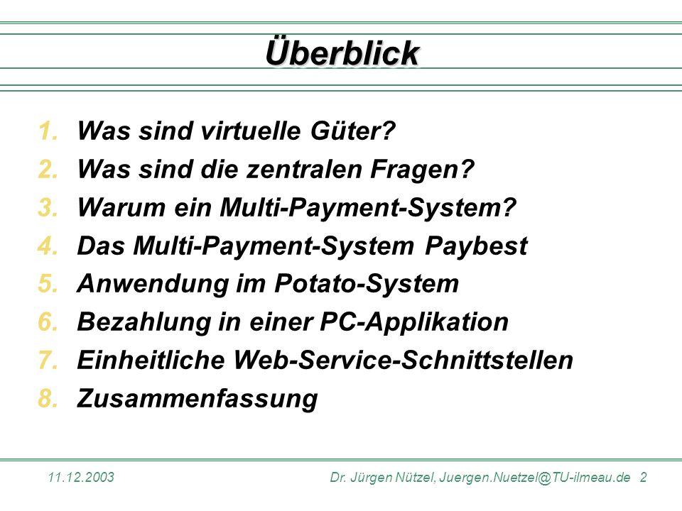 11.12.2003Dr. Jürgen Nützel, Juergen.Nuetzel@TU-ilmeau.de 2 1.Was sind virtuelle Güter? 2.Was sind die zentralen Fragen? 3.Warum ein Multi-Payment-Sys