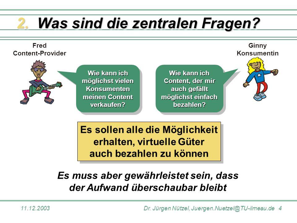11.12.2003Dr. Jürgen Nützel, Juergen.Nuetzel@TU-ilmeau.de 4 Ginny Konsumentin Fred Content-Provider Es muss aber gewährleistet sein, dass der Aufwand
