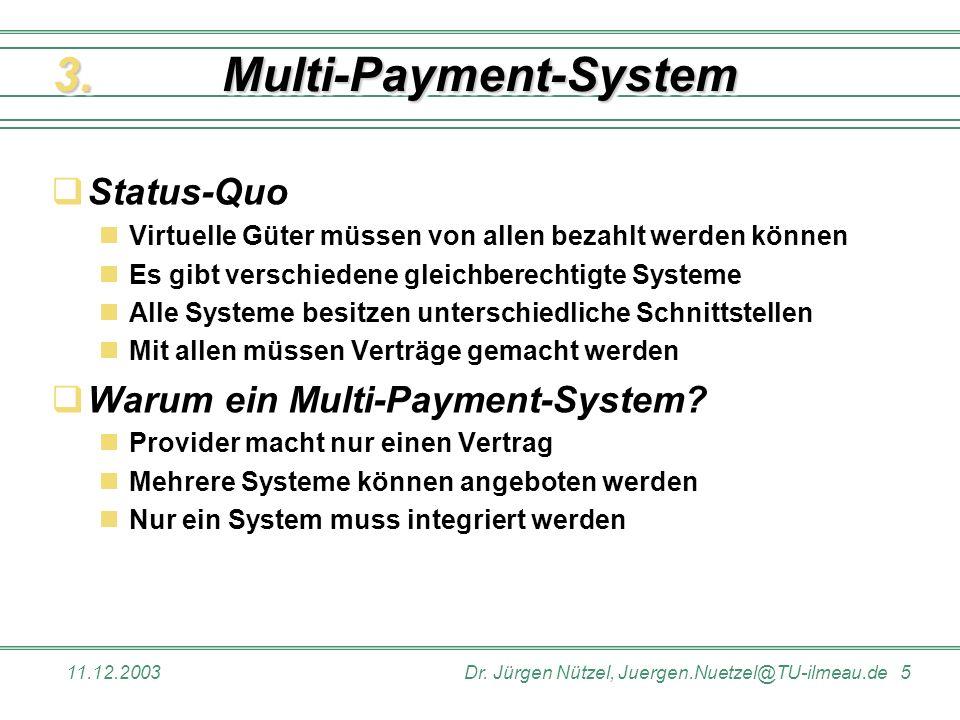 11.12.2003Dr. Jürgen Nützel, Juergen.Nuetzel@TU-ilmeau.de 5 Multi-Payment-SystemMulti-Payment-System Status-Quo Virtuelle Güter müssen von allen bezah