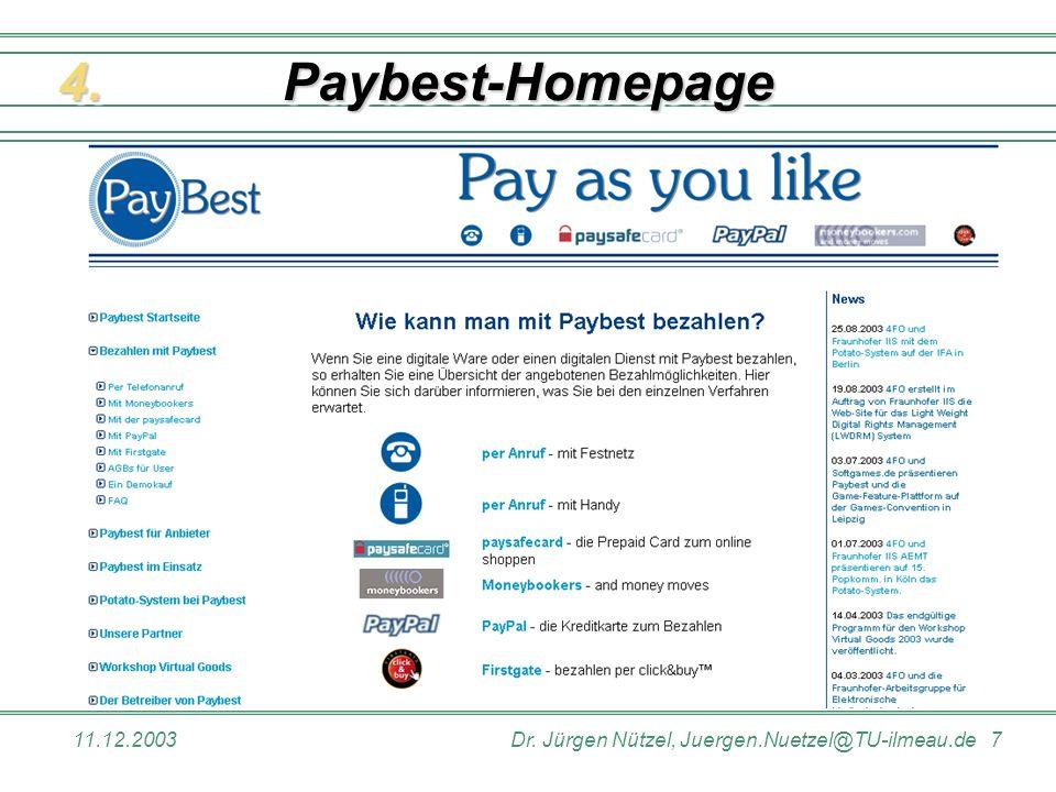 11.12.2003Dr. Jürgen Nützel, Juergen.Nuetzel@TU-ilmeau.de 7 Paybest-HomepagePaybest-Homepage4.4.