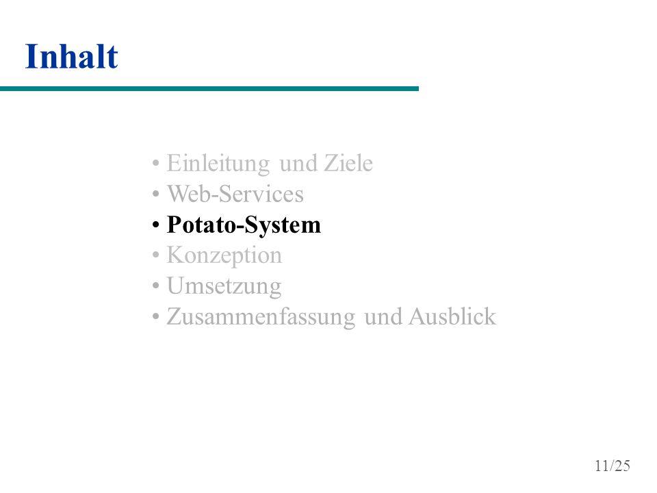 Inhalt Einleitung und Ziele Web-Services Potato-System Konzeption Umsetzung Zusammenfassung und Ausblick 11/25