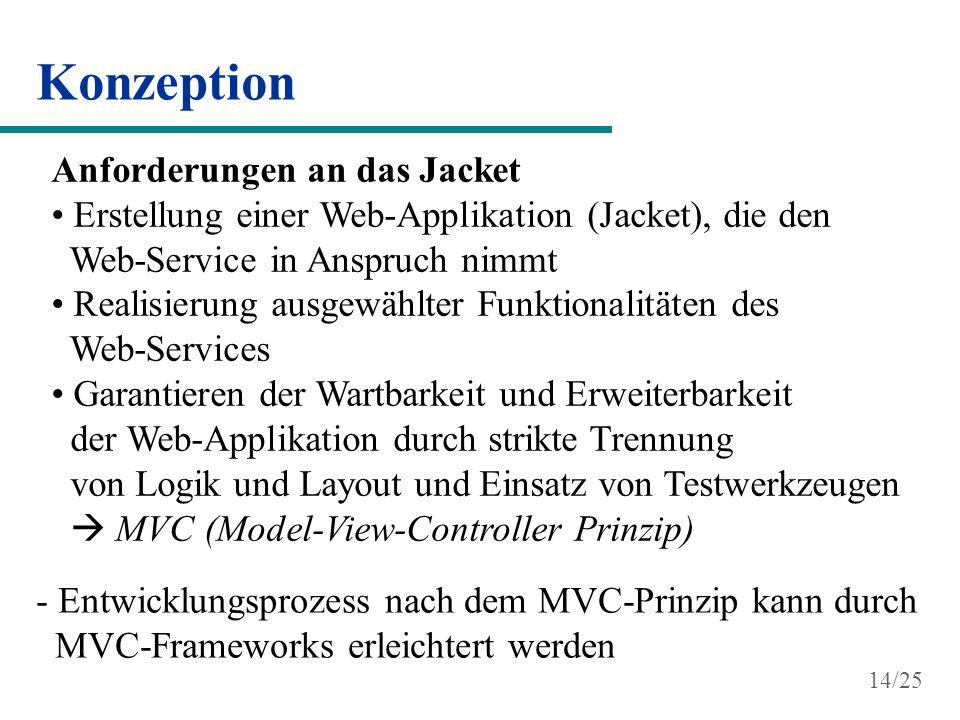 Konzeption Anforderungen an das Jacket Erstellung einer Web-Applikation (Jacket), die den Web-Service in Anspruch nimmt Realisierung ausgewählter Funk
