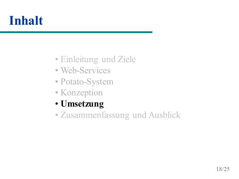 Inhalt Einleitung und Ziele Web-Services Potato-System Konzeption Umsetzung Zusammenfassung und Ausblick 18/25