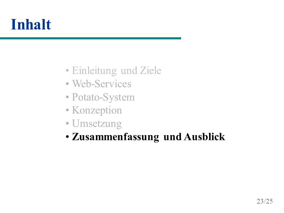 Inhalt Einleitung und Ziele Web-Services Potato-System Konzeption Umsetzung Zusammenfassung und Ausblick 23/25