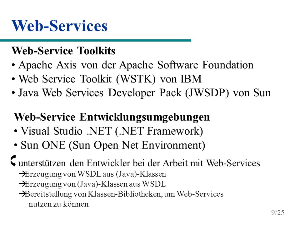 Web-Services Erstellung und Nutzung von Web-Services Java-Interface Java2WSDL...