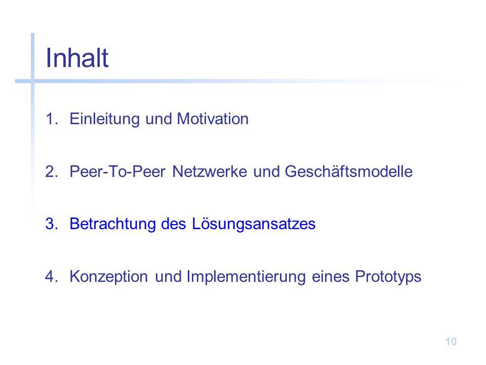 10 Inhalt 1.Einleitung und Motivation 2.Peer-To-Peer Netzwerke und Geschäftsmodelle 3.Betrachtung des Lösungsansatzes 4.Konzeption und Implementierung eines Prototyps