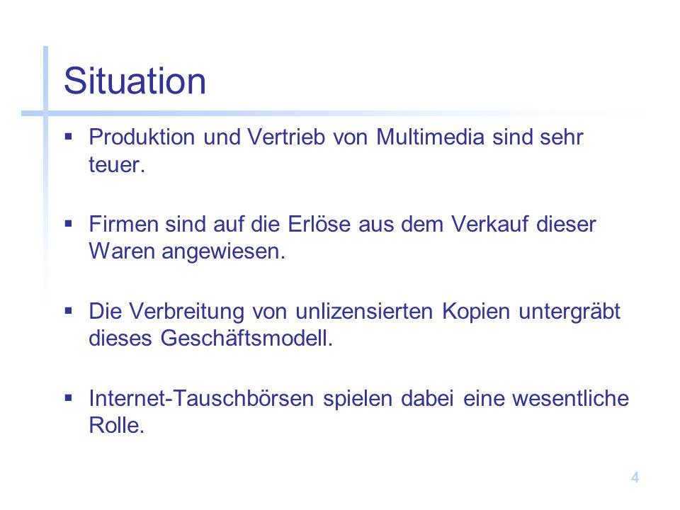 4 Situation Produktion und Vertrieb von Multimedia sind sehr teuer.