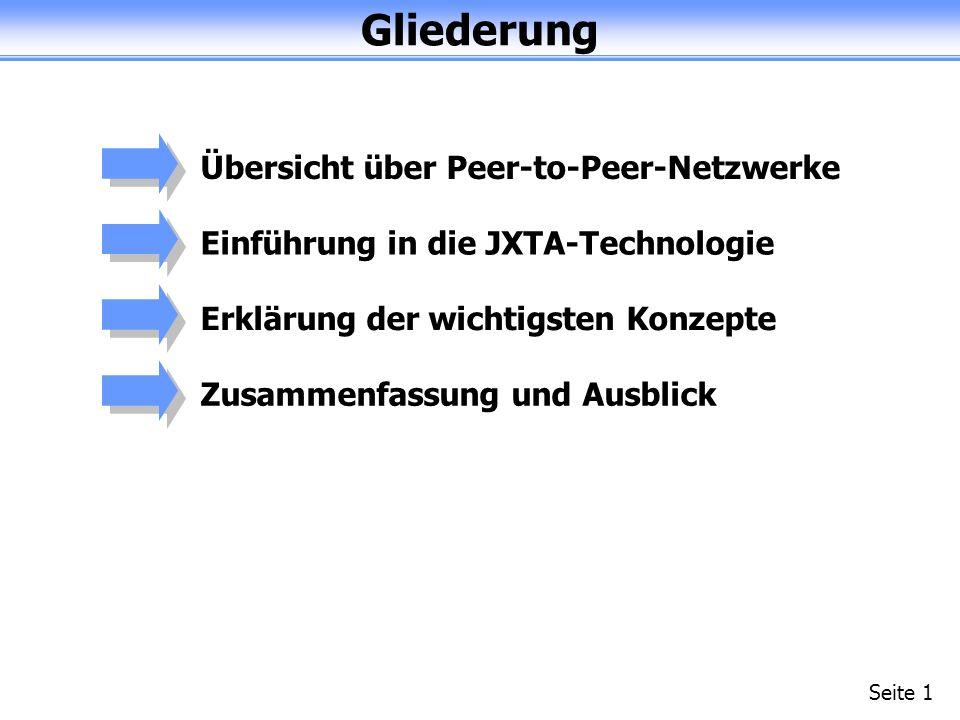 Gliederung Seite 1 Übersicht über Peer-to-Peer-NetzwerkeEinführung in die JXTA-TechnologieErklärung der wichtigsten KonzepteZusammenfassung und Ausblick