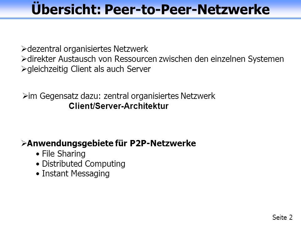 Übersicht: Peer-to-Peer-Netzwerke Seite 2 dezentral organisiertes Netzwerk direkter Austausch von Ressourcen zwischen den einzelnen Systemen gleichzeitig Client als auch Server im Gegensatz dazu: zentral organisiertes Netzwerk Client/Server-Architektur Anwendungsgebiete für P2P-Netzwerke File Sharing Distributed Computing Instant Messaging