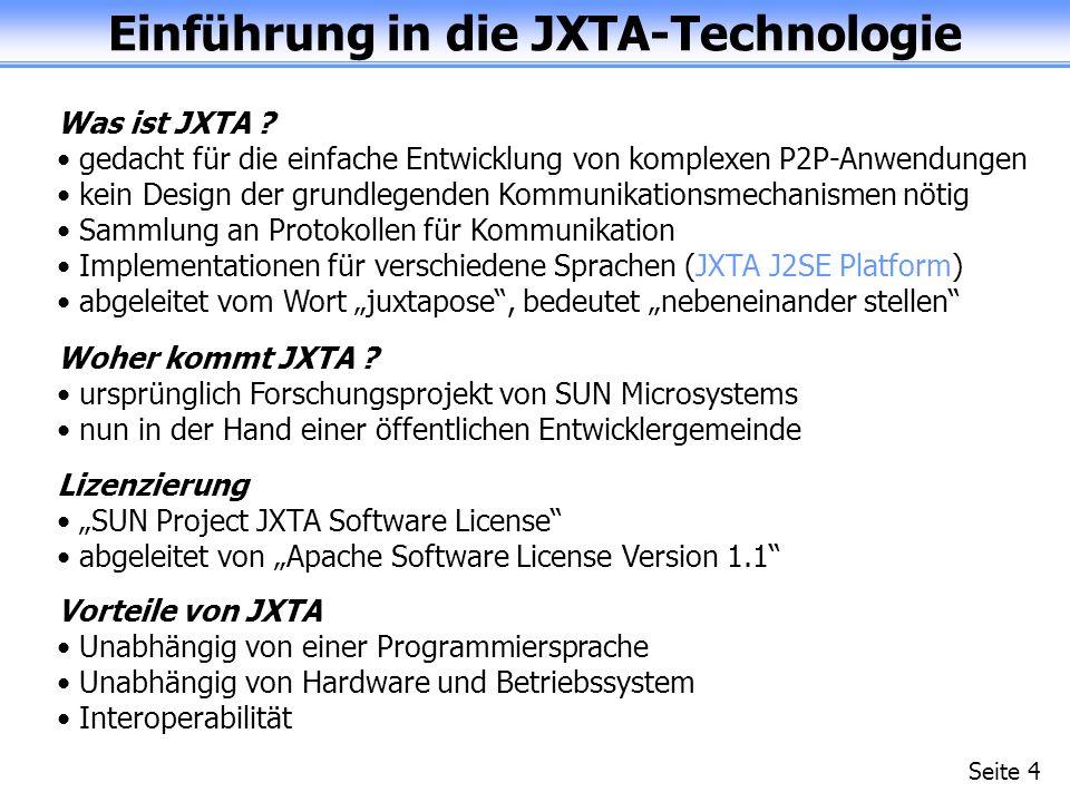 Einführung in die JXTA-Technologie Seite 4 Was ist JXTA .