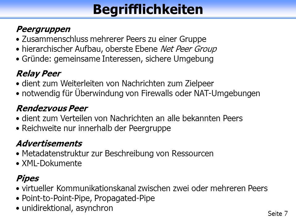 Begrifflichkeiten Seite 7 Peergruppen Zusammenschluss mehrerer Peers zu einer Gruppe hierarchischer Aufbau, oberste Ebene Net Peer Group Gründe: gemeinsame Interessen, sichere Umgebung Relay Peer dient zum Weiterleiten von Nachrichten zum Zielpeer notwendig für Überwindung von Firewalls oder NAT-Umgebungen Rendezvous Peer dient zum Verteilen von Nachrichten an alle bekannten Peers Reichweite nur innerhalb der Peergruppe Advertisements Metadatenstruktur zur Beschreibung von Ressourcen XML-Dokumente Pipes virtueller Kommunikationskanal zwischen zwei oder mehreren Peers Point-to-Point-Pipe, Propagated-Pipe unidirektional, asynchron