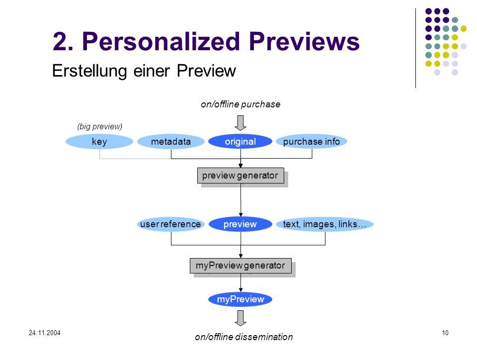 24.11.200410 2. Personalized Previews Erstellung einer Preview preview preview generator myPreview generator myPreview original metadata text, images,