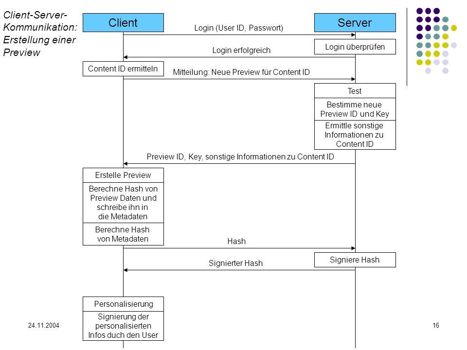24.11.200416 ClientServer Login (User ID, Passwort) Login erfolgreich Login überprüfen Content ID ermitteln Mitteilung: Neue Preview für Content ID Te