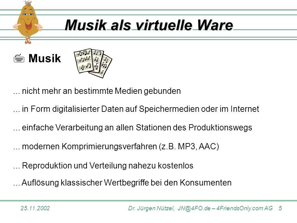 25.11.2002Dr.Jürgen Nützel, JN@4FO.de – 4FriendsOnly.com AG 5 Musik als virtuelle Ware Musik...