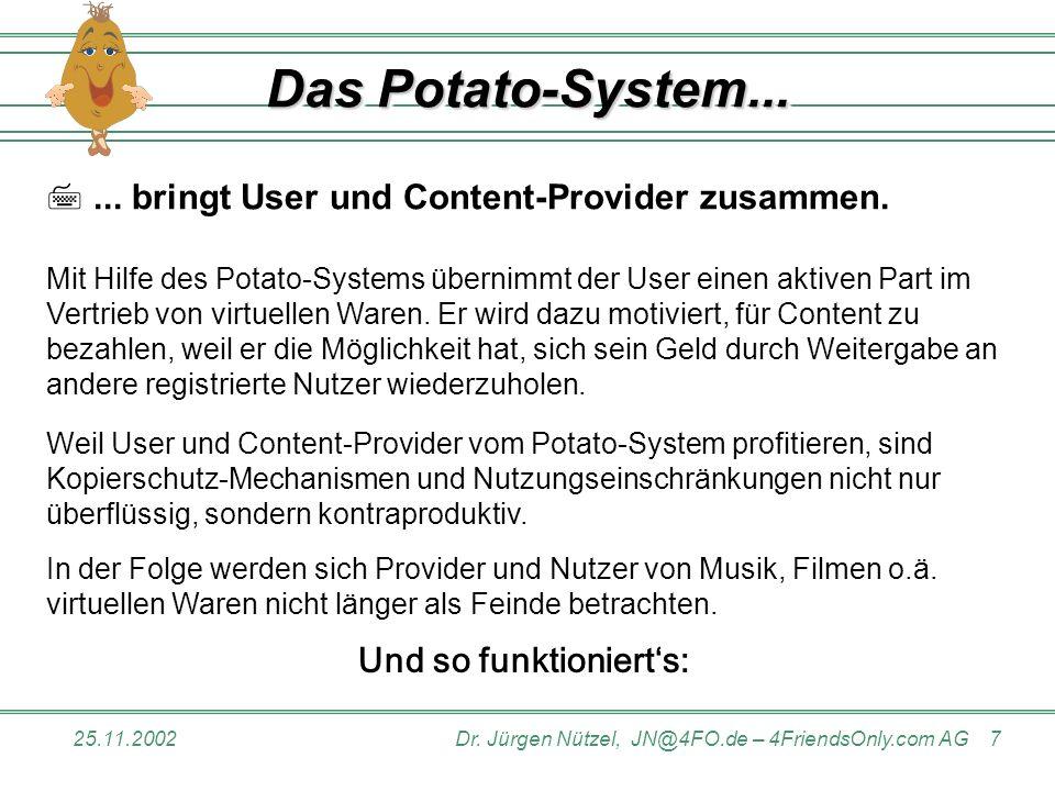 25.11.2002Dr.Jürgen Nützel, JN@4FO.de – 4FriendsOnly.com AG 7 Das Potato-System......